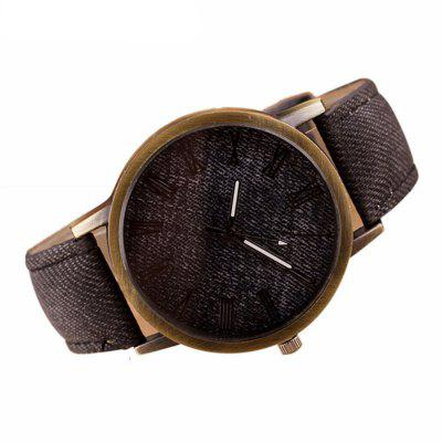 Denim Fashion Stainless Steel Quartz Analog  Man Watch