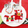 2 Pcs/Set Santa Claus Christmas Table Decor Cutlery Knife Fork Holder Pockets - RED