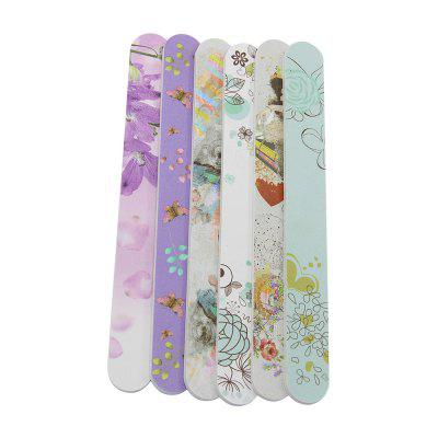 6PCS Flower Design Double-sided Grit Nail Files for Nail Care Nail Beauty