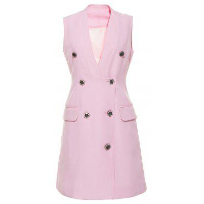 HAODUOYI Women's V-neck Double Row Multi-Button Double Pocket Blazer Pink