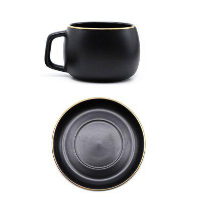 MUZITY HZ01 Ceramic Coffee Cup and Saucer Black Pigmented Tea Cup Set 110Z