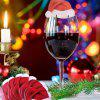 10pcs Christmas Decorations Table Place Cards Christmas Santa Hat Wine Glass - RED
