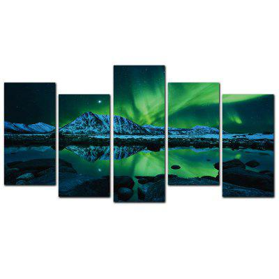 YISHIYUAN 5 Pcs HD Inkjet Paints Northern Lights Scenery Decorative Painting