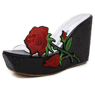 Women's Wedge Shoes Fashion Party Slippers with Embroidery