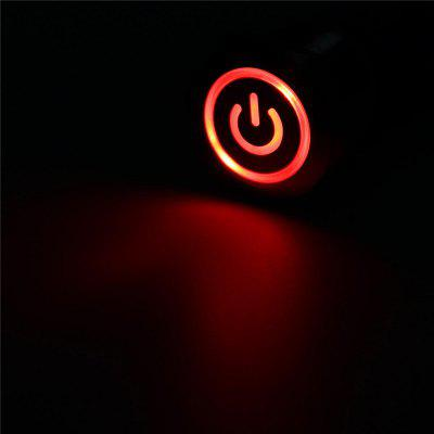 19mm Metal Waterproof 12/24V 5Pin ON-OFF Push Button Switch LED Power Symbol