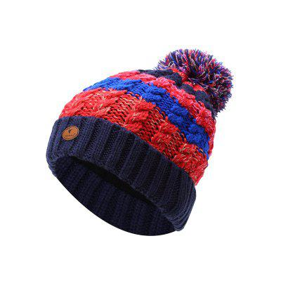 c7e2f23d73f VEPEAL Winter Women S Outdoor Keep Warm Fur Ball Color Matching Knitted Hat