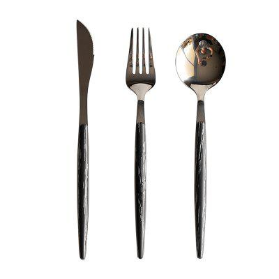 A48 SUS304 Flatware Set Include Spoon Fork Knife Mirror Polished Gold Color