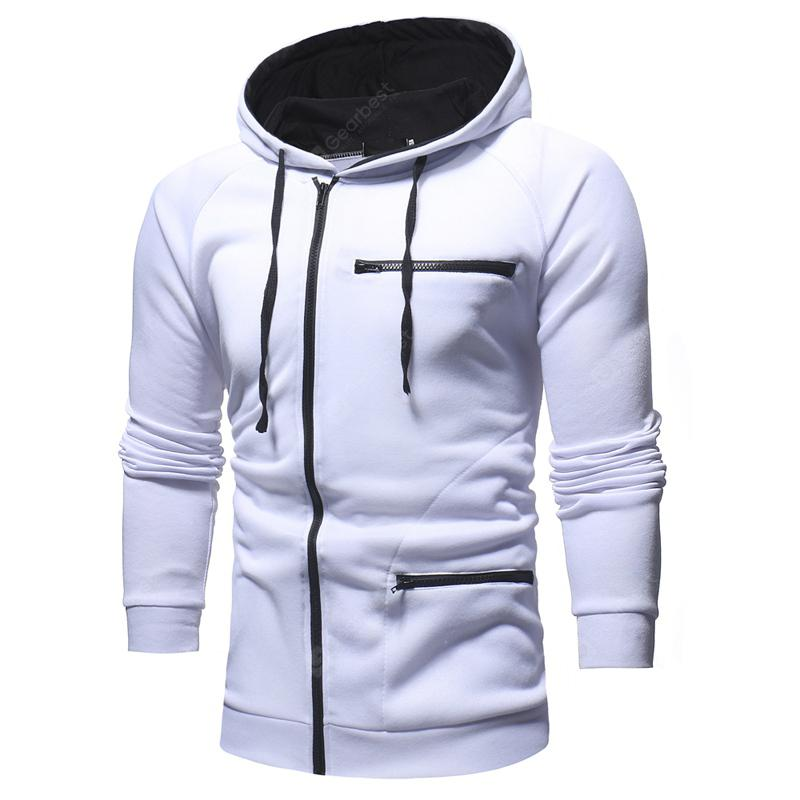 Men's Fashion Solid Color Hooded Casual Slim Sweater