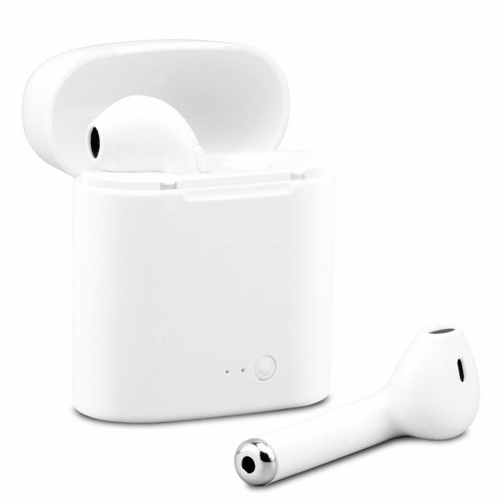 Extender i7 Mini Wireless Bluetooth Earphone Stereo Binaural Earbuds batera - WHITE