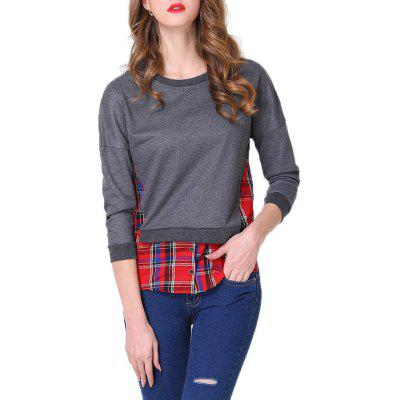 Large Size Women's Fashion Plaid Stitching Slim Long-Sleeved Sweater