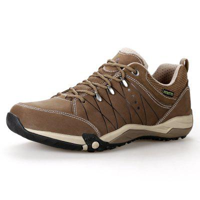 HUMTTO Mens Walking Shoes Lace-Up Traveling Camping Leather Low Sports Shoes
