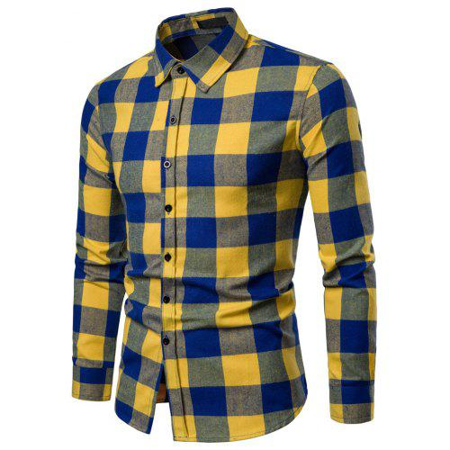 a2a3ea20fb1 Men s Business Casual Plaid Fashion Long Sleeve Shirt