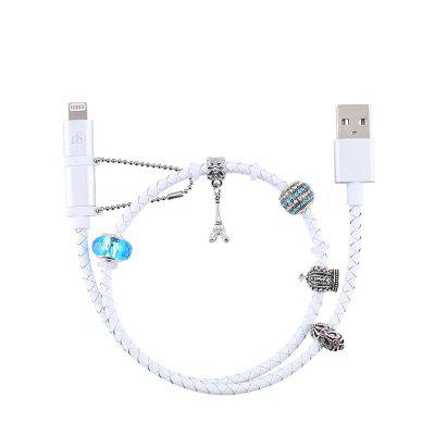 D8 Mfi Certified 2 in 1 Cable for iPhone X/XS/XS Beads Bracelet Data Cable Leath