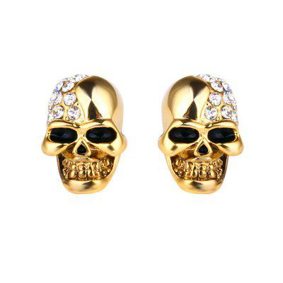2PCS Halloween Retro Fashion Diamond Orecchini in acciaio inox Skullcandy