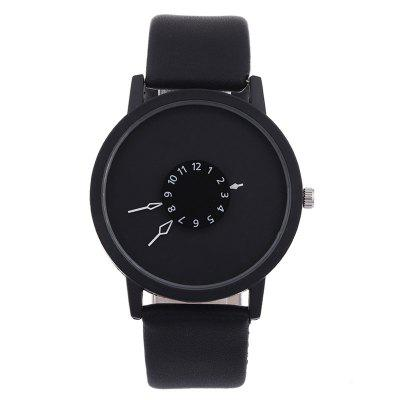 Fashion Creative Women Men Quartz Leather Watch Clock