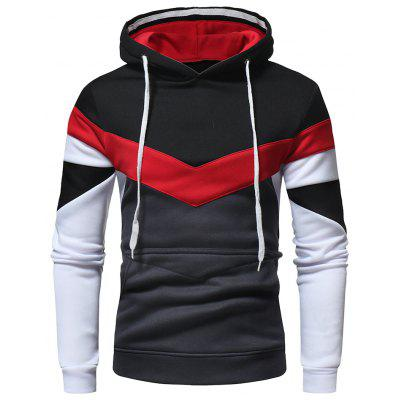 Men Fashion Contrast Color Stitching Casual Sweatshirt Hoodie