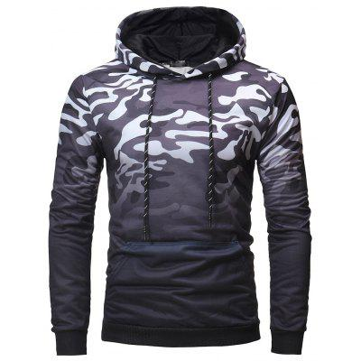 Fashion Casual Men's Wild Gradient Color Camouflage Hooded Sweater