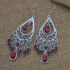Retro Style Hollowed Out Tassel Fashion Earrings - RED WINE