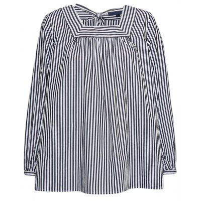 HAODUOYI Women's Striped Cuffs Pleated Back Slits Loose Shirt Multicolor