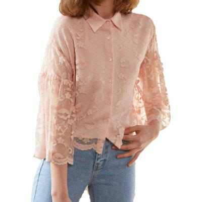 HAODUOYI Women's Simple Lady Sweet Full Lace Ruffle Sleeve Shirt Pink