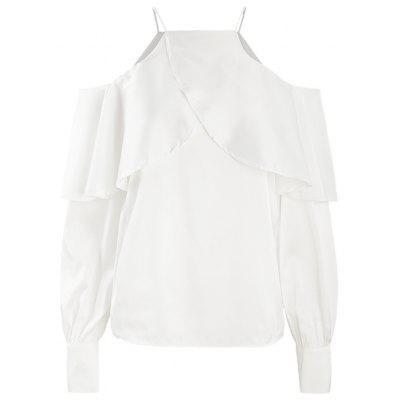 HAODUOYI Women's Simple Word Collar Ruffled Lantern Sleeve Shirt White