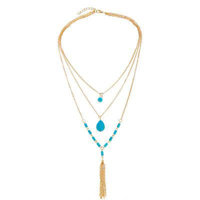 Multilayer Vintage Turquoise Pendant Necklace