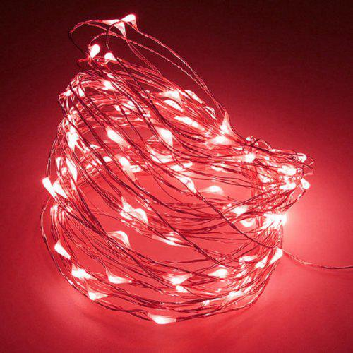 Christmas 100 Frosted Red LED Fairy Lights 8 Functions 5m Wire Xmas Decoration