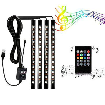 ZDM Luzes Interiores do Carro da Música RGB LED 72 USB PCes 9 polegadas 4pcs