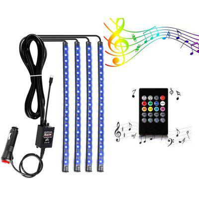 ZDM 4 pzas 9 pulgadas de relleno de auto fresco LED Strip Light Decoration 72 LED RGB Music Car Interior luces