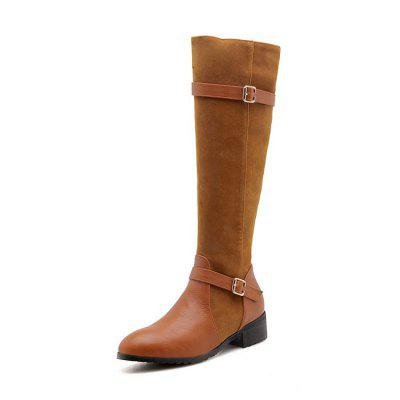 Round Head Rough and Low Heel Fashion Buckle High Boots
