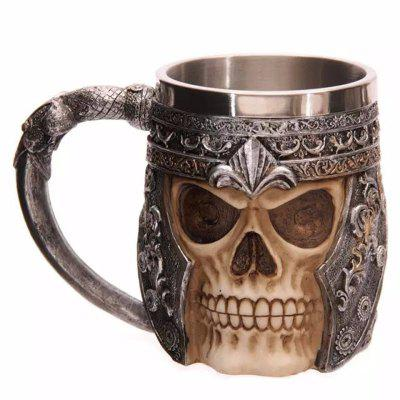3D Skull Mug Double Wall Stainless Steel Coffee Tea Cup