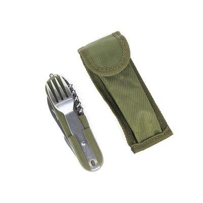 Army Green Folding Portable Stainless Steel Camping Picnic Cutlery Knife Fork Sp