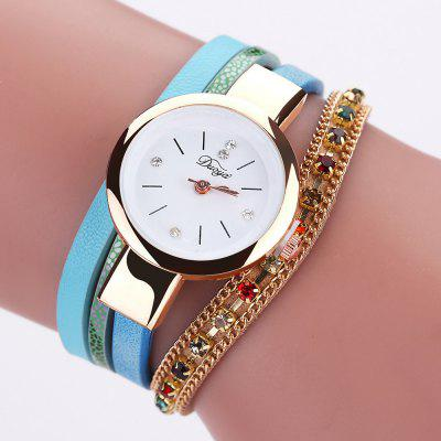 Ms Colorful Diamond PU Leather Bracelet  Quartz Watch