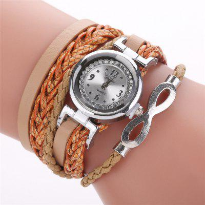 Fashion Knitting Twist PU Leather Bracelet with Quartz Watch