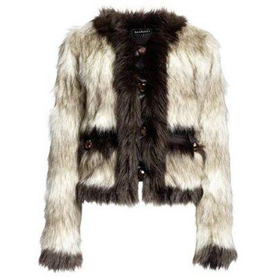 HAODUOYI Women'S Temperament Fur Coat Button Design Fur Coat Multicolor