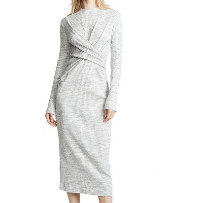 SHEINNET Women's Draped Slim Fit Fit Round Neck Long Sleeve Knit Dress Grey
