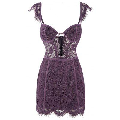 HODOYO Fashion Sexy Halter Sling One Shoulder Lace Slim Dress