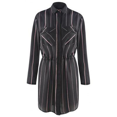 HAODUOYI Women  's Simple Commuter Vertikale Streifen Taille Long Shirt Schwarz