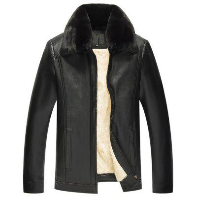 Men's Loose Long Sleeve Solid Color Winter Leather Jacket