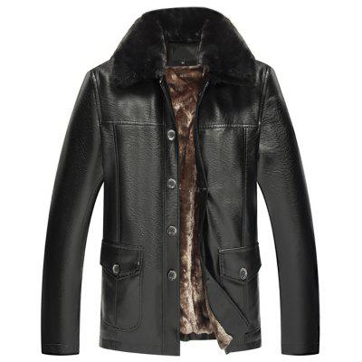 Men'S Long Sleeve Solid Color Padded Casual Fur Collar Leather Jacket