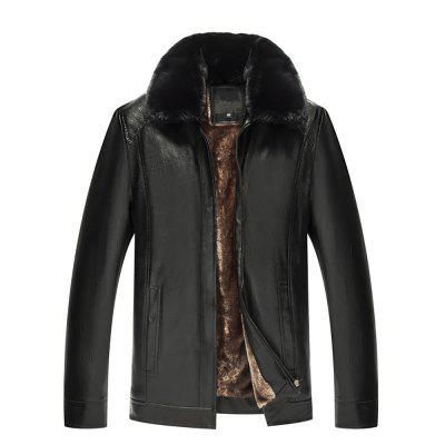 Men's Long Sleeve Solid Color Padded Lapel Fur Collar Leather Jacket
