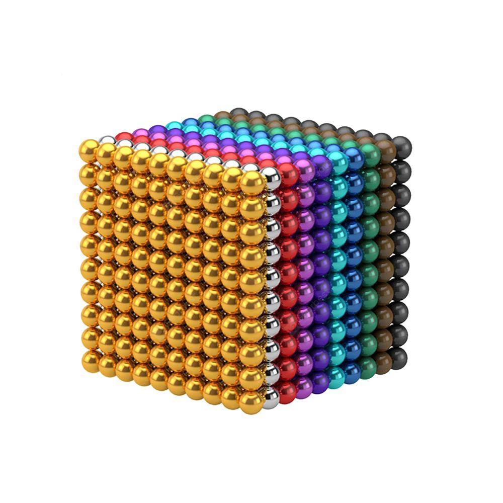 100Pcs 5mm DIY Multicolor or Silver Magnetic Balls Sphere Bead Magnet Cube Gift - MULTI-E