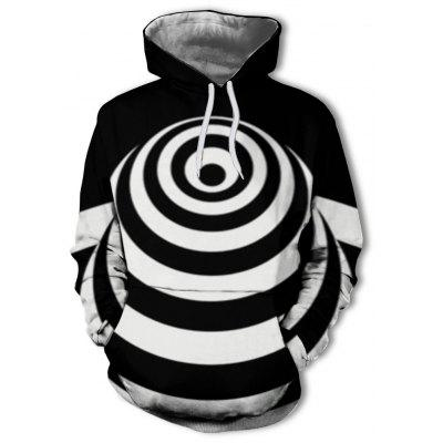 Casual Men's 3D Print Black and White Fashion Hoodie