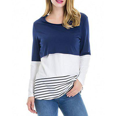 Maternity Round Neck Striped Patchwork Lace Suckle Casual T-shirt