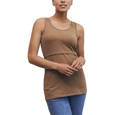 Maternity Casual Plus Size Solid Color Suckle Stretchly Vest Wild Sleeveless Top