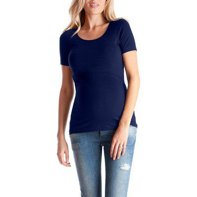 Maternity Round Neck Wild Casual Solid Color Short Sleeve Suckle T-shirt