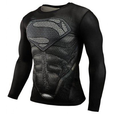 Men's High Elastic Skinny Quick-drying Sports Fitness Long Sleeve T-Shirt