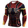 Men's High Elastic Skinny Quick-drying Sports Fitness Long Sleeve T-Shirt - CHESTNUT RED
