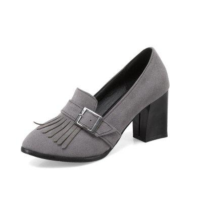 Thick High Heel Shallow Mouth Clasp Tassel Date Woman Shoe