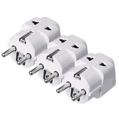 European Plug Adapter with Dual Ports Universal Travel Power Adapter 3PCS